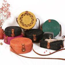 Woven Rattan Bag Round Straw Shoulder Bag Small Beach HandBags Women Summer