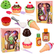 Kids Ice Cream and Cake Play Set Food Pretend Play Large Cones Scoops Cakes 20PC