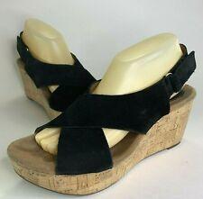 0614878b19b Clarks Stasha Hale Women Sz 9.5 Black Suede Leather Strap Slingback Wedge  Sandal