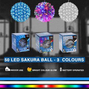 50 LED SAKURA BALL INDOOR LIGHT Snow Lamp Hanging Tree Decor Party Gift Box