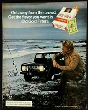 1972 Old Gold Cigarettes Man Fishing Smoking Jeep Photo Vintage Color Print Ad