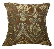 Wd43Aa Brown Damask Chenille Daisy Flower Throw Cushion Cover/Pillow Case*Size