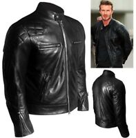 MENS Stylish David Beckham Black Leather Jacket Real Vintage Slim Fit - BNWT