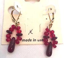 Red Beaded Drop Dangle Earrings Lever Back Long Earrings 1.5 inch Long