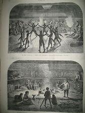 ALASKA DANSE LONDRES VENTE DE CHIENS TROUVéS COMEDIE FRANCAISE GRAVURES 1869