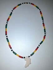 Rasta Beaded Necklace with White Africa Map Pendant - Made in GAMBIA