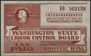 USA 1942 WA W18a Washington domestic wine tax (cream paper) used
