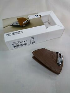BMW Genuine Brown Leather Key Case with BMW Lettering 82292408818