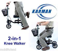Knee Scooter Walker 2-in-1 Foldable Leg Crutch Brakes Karman KW-100-BK Black NEW