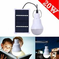 20W Solar Powered LED Light Bulbs Outdoor Indoor Camping Tent Rechargeable Lamp