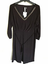 New NY Collection Woman's Chain Embellished V Neck Knit Dress  Brown  1X  J4