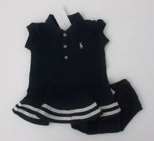 BNWT BABY GIRL RALPH LAUREN POLO DRESS & PANTS NAVY BLUE/WHITE AGE 3 MTHS