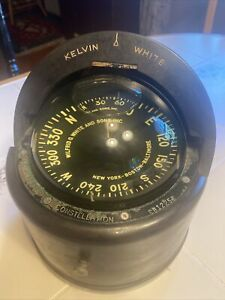 "vintage kelvin white wilfrid o. white compass, 6"" boat compass CB12258 Nautical"