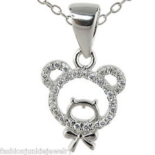 Teddy Bear Necklace - 925 Sterling Silver - CZ Charm Pendant Children Child NEW