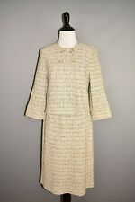 ST. JOHN $2295 Tan Tweed Boucle 2 Piece Wool Skirt Suit Size 2 / 6