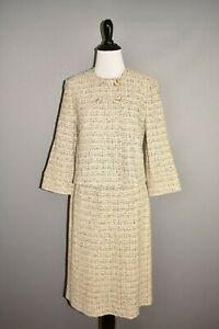 ST. JOHN $2295 Tan Tweed Boucle 2 Piece Wool Skirt Suit Size 2 / 6