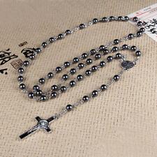 Jesus Cross Pendant Necklace Hematite Rosary Beaded Chain Religious Jewelry