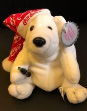 Coca Cola White Night Cap Polar Bear Bean Bag Stuffed Animal Plush 1998