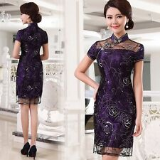 NWT-Elegant Floral Lace Chinese Cheongsam/Qi Pao Evening Party Dress   Size S-M