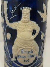 "New listing Germany Vtg 9"" Beer Stein - Blue/Grey Pottery Style - King/Elf Garden Theme"