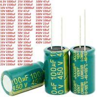 6.3V-450V High Frequency LOW ESR Radial Electrolytic Capacitor 10uF-10000uF 105C