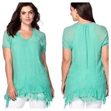 Sheego @ Kaleidoscope Size 18 Mint Green Lace Detail Tunic TOP Summer £44