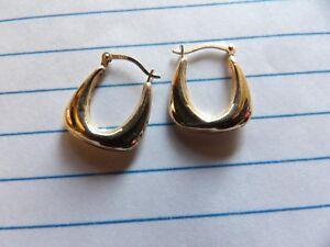 9ct YELLOW GOLD CREOLE HOOP EARRINGS FANCY DECO DESIGN LEVERBACK XAJ1016-4