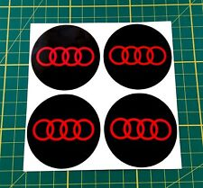 4x Alloy Wheel stickers red and black 55 mm fit audi center trim cap badge