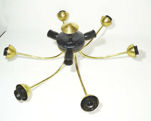 Alte Sputnik Deckenlampe 6armig 9 flamig Spinne Ersatzteil Gestell 1950er Deko