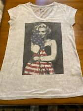 Marilyn Monroe Vintage Heathered T Shirt Size S Holding American Flag