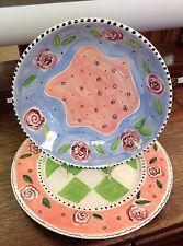 Caroline DeBottis Plate Bowl Set 1997 Colorful Flowers
