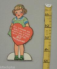 Vtg Valentine Card Little Girl Change My Way Ways of Living 40's Unused