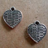 P128  20pcs Tibetan Silver Charms 2-Sided Love Heart retro Accessories Wholesale