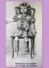 PATRON LA MODE ILLUSTREE, vêtement poupée ancienne, n° 37 de 1908, DOLL PATTERN