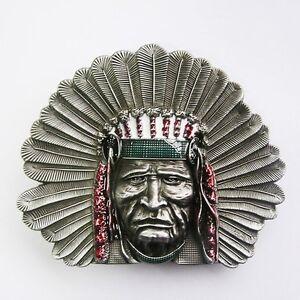 NATIVE INDIAN CHIEF HEAD HEADDRESS APACHE BELT BUCKLE
