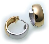 Ohrringe Klapp Creolen echt Silber 925 Bicolor 17 mm gelb weiß Sterlingsilber