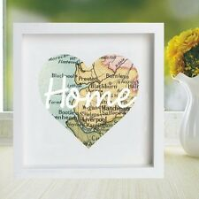 Vintage Map Framed Heart Print Displaying Your Chosen Location - Housewarming