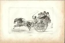 Stampa antica NAPOLI Calesse con passeggeri in corsa 1834 Old print Engraving