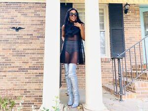 NWT Designer Gracia Black Poly Floral Mesh Sheer Sleeveless A-line Dress Sz S