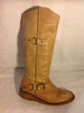 Next Beige Knee High Leather Boots Size 4