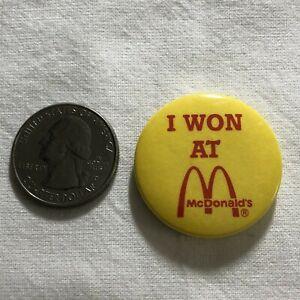 I Won At McDonalds Small Yellow Pinback Button #36830