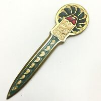 Vintage LETTER OPENER, Hand Made Enameled Brass, Made in Turkey, 1970's, 5.5""
