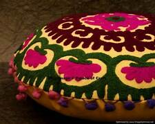 Indian Pom Lace Suzani Embroidery Yellow Cotton Cushion Cover Ethnic Sofa Pillow