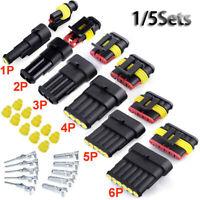 5sets 1-6 Pin Conector Kits de sellado eléctrico a prueba de agua Cable Conector