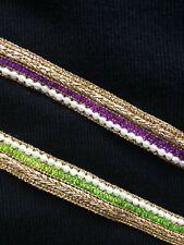 Gold lace trim white beads multi colour 15mm trim beautiful indian lace trim