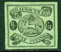 Germany 1863 Braunschweig ½ sGr Blue Green SG #15 Variety Mint G144 ⭐⭐⭐⭐⭐⭐