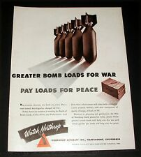 1942 OLD WWII MAGAZINE PRINT AD, NORTHROP AIRCRAFT, GREATER BOMB LOADS FOR WAR!
