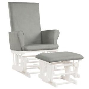 Baby Nursery Relax Rocker Rocking Chair Glider & Ottoman Set w/Cushion Grey