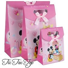 6 X Small Mickey Minnie Mouse Card Paper LOOT LOLLY GIFT BAGS Party Bunting