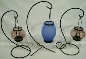 Freestanding Hanging Stand Glass Hanging Tealight Candle Lantern Holder